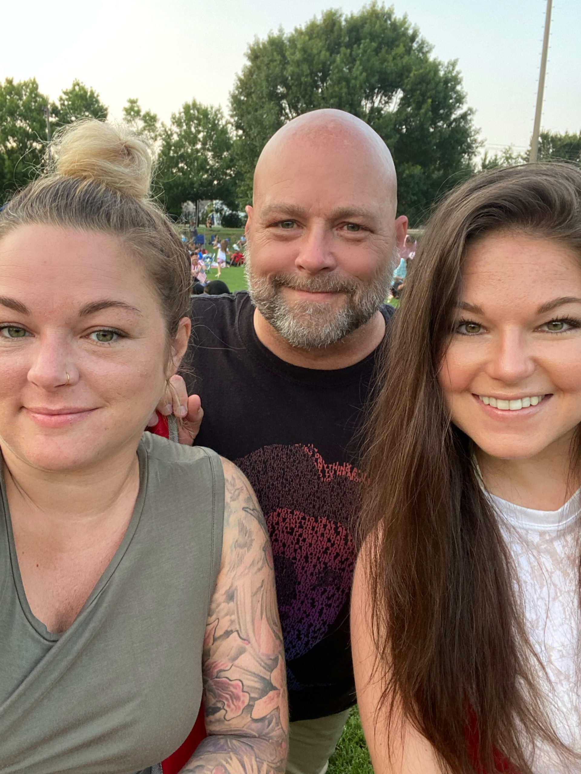Dad, Sommer and Erika selfie while watching fireworks